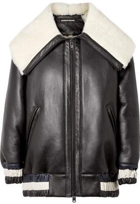 House of Holland Oversized Leather And Shearling Jacket - Black