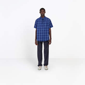 Balenciaga Woven checks cotton poplin short sleeves shirt