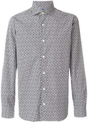 Barba roseprint curved hem shirt