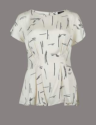 Marks and Spencer Printed Round Neck Short Sleeve Blouse
