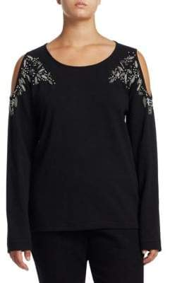 Joan Vass Plus Beaded Cold-Shoulder Top