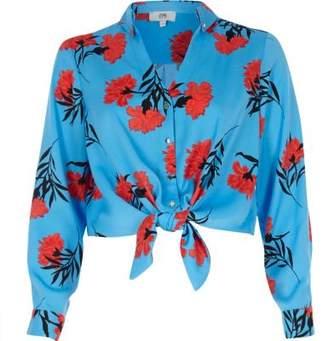 River Island Petite blue floral tie front crop shirt