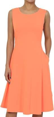 TheMogan Women's Sleeveless Pocket Stretch Cotton Fit & Flare Dress L