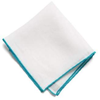 Todd Snyder White Label Color Border Pocket Square in Dark Teal