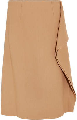 Marni Ruffle-trimmed Crepe Midi Skirt - Camel