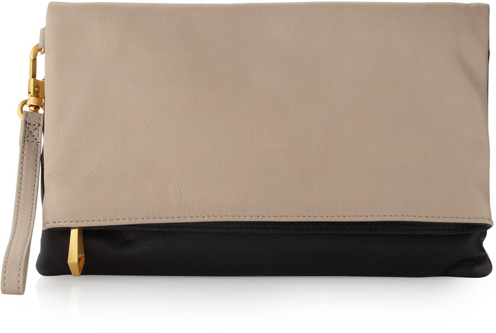 Christopher Kon Morgan Foldover Colorblock Clutch, Putty/Navy