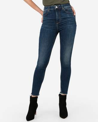 Express Super High Waisted Denim Perfect Lift Raw Hem Ankle Leggings