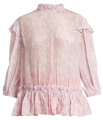 Preen Line - Sienna Floral Print High Neck Blouse - Womens - Pink White