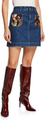 Stella McCartney Floral Pocket & Studded Denim Skirt