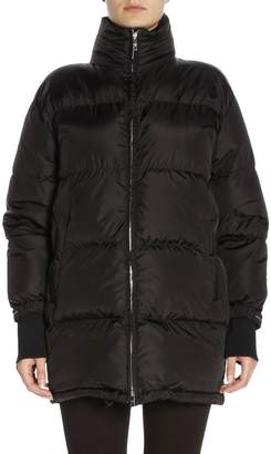 Prada Jacket Waterproof Nylon Down Jacket With Maxi Logoed Band
