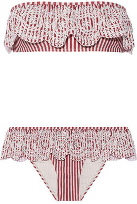 Zimmermann - Meridian Broderie Anglaise Striped Bandeau Bikini - Red $300 thestylecure.com