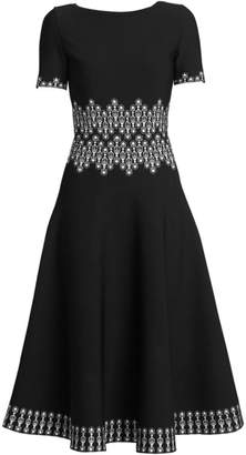 Alaia Coupole Jacquard Knit Fit-&-Flare Dress