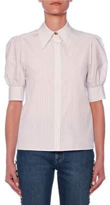 Stella McCartney Puff-Sleeve Button-Front Pinstripe Blouse