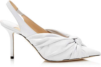 Jimmy Choo ANNABELL 85 White Nappa Leather Sling Back Closed Toe Pumps