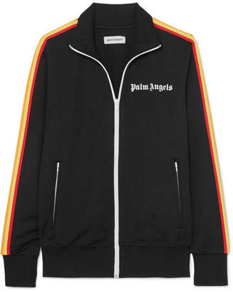Palm Angels Striped Satin-jersey Track Jacket - Black