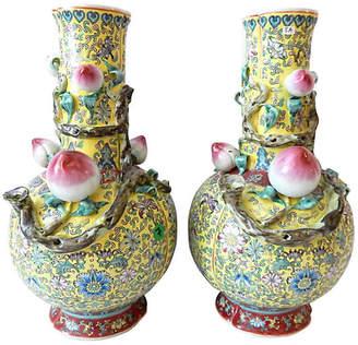 One Kings Lane Vintage Famille Jaune Porcelain Vases