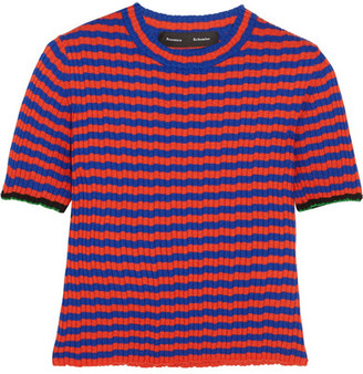 Proenza Schouler - Striped Ribbed Silk And Cashmere-blend Sweater - Red $430 thestylecure.com