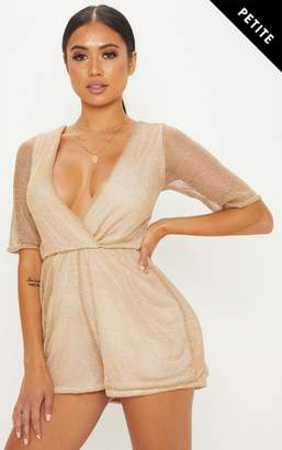 100d8e1b17 at PrettyLittleThing · PrettyLittleThing Petite Silver Knitted Wrap Front  Playsuit