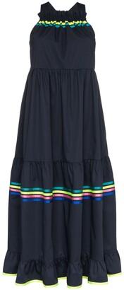Mira Mikati stripe detail tiered maxi dress