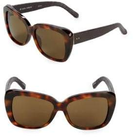 Linda Farrow Luxe Snake-Embossed Arm 57mm Square Sunglasses