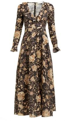 Zimmermann Veneto Floral Print Linen Dress - Womens - Brown