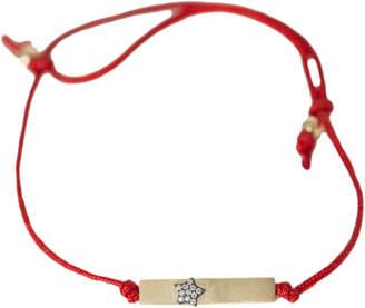 Ammanii Red Silk String Bracelet with Gold Pave Star