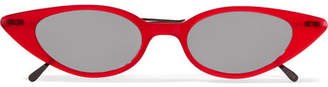 Illesteva Marianne Cat-eye Acetate And Gunmetal-tone Sunglasses - Red