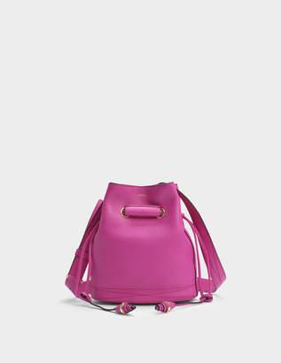 Lancel Le Huit S Bucket Bag in Cyclamen Grained Leather