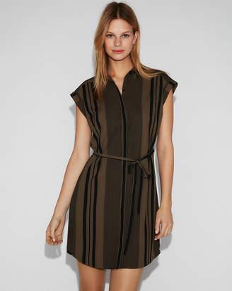 Express Striped Tie Front Short Sleeve Shirt Dress