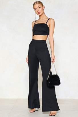 Nasty Gal Take Two Pieces Crop Top and Flare Pants Set