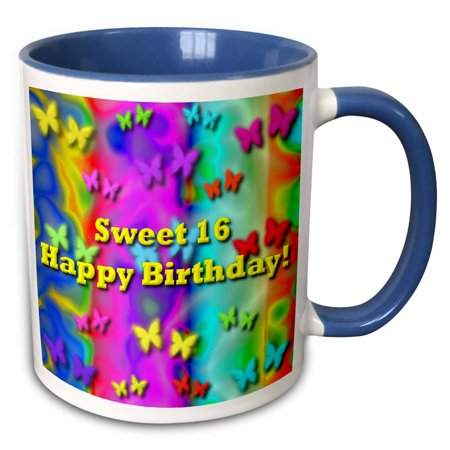3dRose Neon Butterflies and Rainbows Sweet16 Birthday - Two Tone Blue Mug, 11-ounce