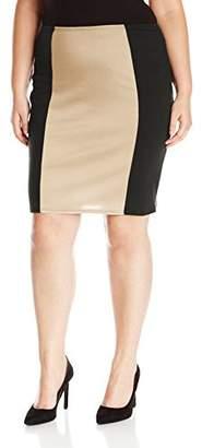Star Vixen Women's Plus-Size Knee Length Slimming Colorblock Pencil Skirt with Back Slit