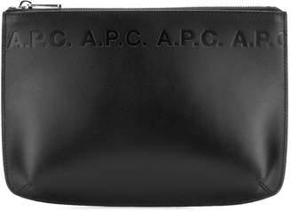 A.P.C. logo embossed clutch bag