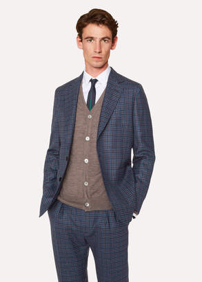 Paul Smith Men's Tailored-Fit Blue Two-Tone Check Wool Buggy-Lined Blazer