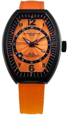 Montres de Luxe Women's EXL 9202 Estremo Lady Black PVD Sunray Dial Leather Luminous Date Watch
