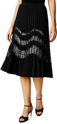 Karen Millen Pleated Lace-Inset Skirt