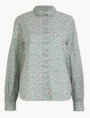 Marks and Spencer Pure Cotton Ditsy Floral Peplum-Back Shirt