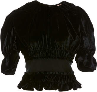 Brock Collection Tammy Ruched Velvet Peplum Top