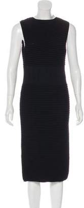 Elie Saab Pleated Rib Knit Dress Black Pleated Rib Knit Dress