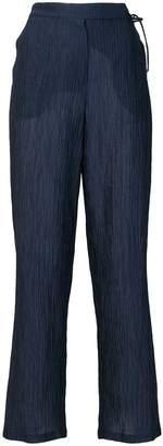 Emporio Armani crinkle-effect straight-leg trousers