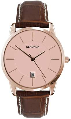Sekonda Men's Quartz Watch with Dial Analogue Display and Brown Leather Strap 3471.27