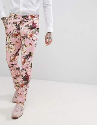 Asos Edition Wedding Skinny Suit Pants In Blush Floral Sateen Print