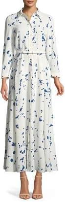 Lafayette 148 New York Siya Femme Flair Splatter-Print Long Dress