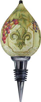 Precious Moments Ne'Qwa Art Hand-Painted Blown Glass Fleur de Lis Vines Wine Stopper