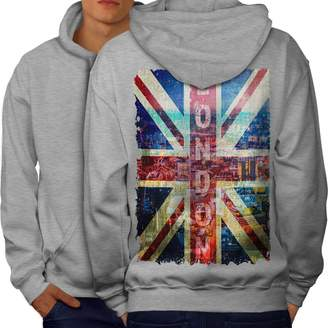 Wellcoda London England Art Mens Hoodie, UK Flag Printed on The Back Side S