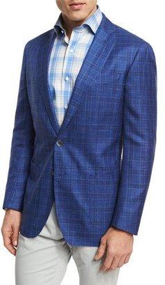 Peter Millar Port Vauban Windowpane Sport Coat, Blue $898 thestylecure.com