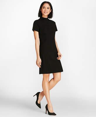 Brooks Brothers Mockneck Ponte Knit Shirt Dress