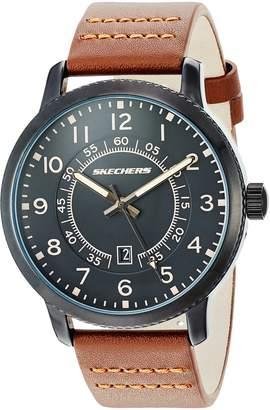 Skechers Men's 'Dress Strap' Quartz Metal and Leather Casual Watch, Color:Brown (Model: SR5091)