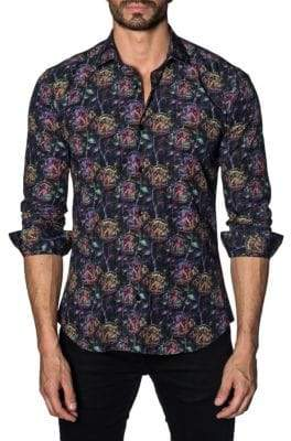 Jared Lang Multicolored Cotton Button-Down Shirt