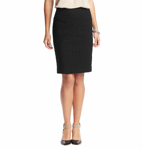 LOFT Petite Cotton Eyelet Pencil Skirt
